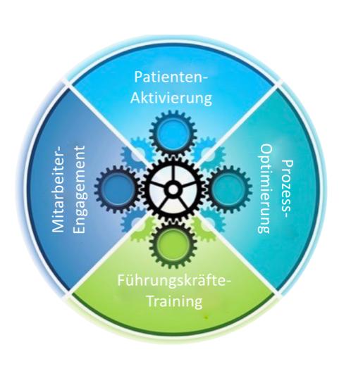 Der Planetree Wirkungszyklus: Patientenaktivierung, Prozessoptimierung, Führungskräftetraining, Mitarbeiterengagement
